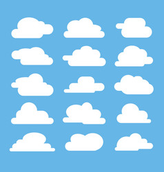 Flat cloud on blue background vector