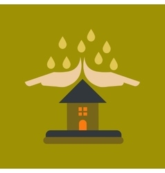 Flat icon on stylish background hand house rain vector