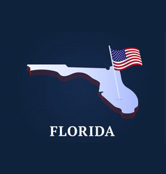 Florida state isometric map and usa natioanl flag vector