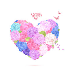 flower heart with flying butterflies lovely vector image