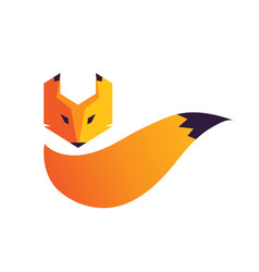 fox head and tail logo vector image
