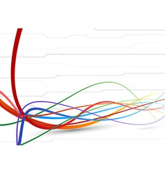 Futuristic background - colorful cable lines vector