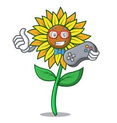 gamer sunflower mascot cartoon style vector image