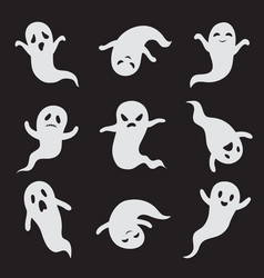 Ghost halloween ghostly faces spooky monster vector
