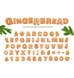 Gingerbread alphabet for decoration design vector