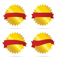 gold badge with red ribbon empty vector image