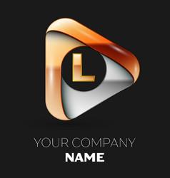 golden letter l logo in golden-silver triangle vector image