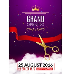 Grand opening invitation card opening event vector