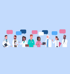 Group of medical doctors standing chat bubble vector