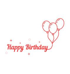 happy birthday with thin line balloon vector image