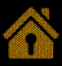 hexagon halftone home keyhole icon vector image