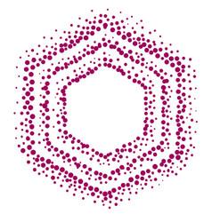 Hexagonal pointillism style frame vector