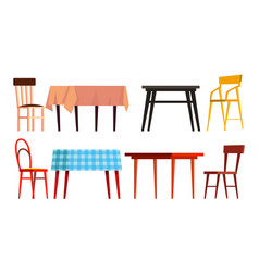 home table chair icon set wooden dinner vector image