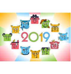 horoscope zodiac symbols 2019 vector image