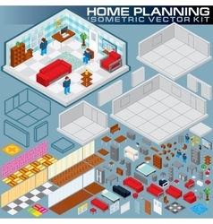 Isometric Home Plan 3D Creation Kit vector image