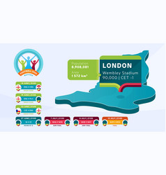 isometric london country map tagged in england vector image