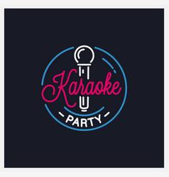Karaoke party logo round karaoke microphone vector