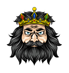 king with long and black hair with the vector image