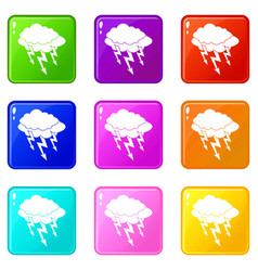 Lightning bolt icons 9 set vector