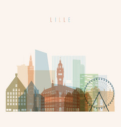 lille skyline detailed silhouette vector image