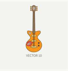 line flat color icon musical instruments vector image