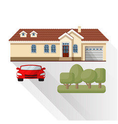 Living house car and trees vector