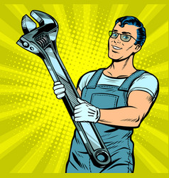 Man repairman with a wrench vector