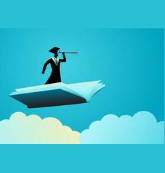 Man with toga using telescope on flying book vector