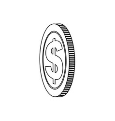 Monochrome contour with coin in side view vector