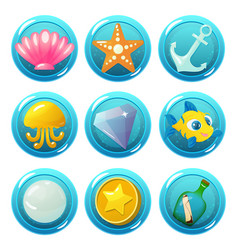 Nautical circle game icons vector