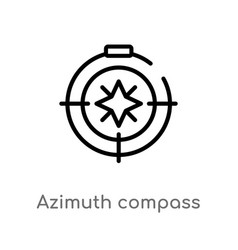 Outline azimuth compass icon isolated black vector