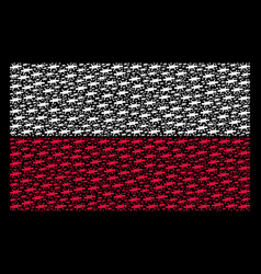 Poland flag collage of barbed wire items vector