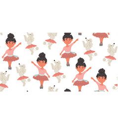 Poodle dogs in ballet skirts ballerina pattern vector