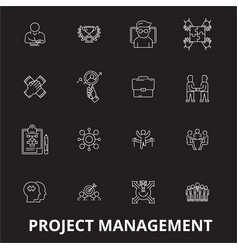 project management editable line icons set vector image