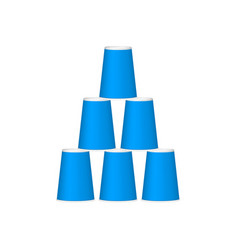 Pyramid of cups in blue design vector