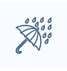 Rain and umbrella sketch icon vector image