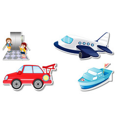 Random stickers with transportable vehicle objects vector