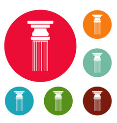 rectangular column icons circle set vector image