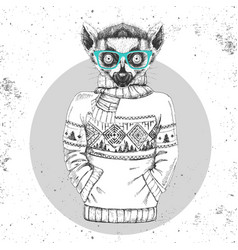 retro hipster animal lemur dressed in pullover vector image