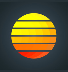 retro sun with colorful gradient stripes vintage vector image