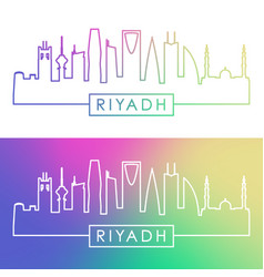 Riyadh skyline colorful linear style editable vector