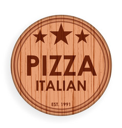 round wooden plate cutting board pizza design vector image