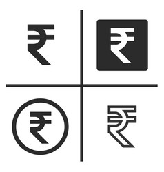rupee currency symbol set vector image