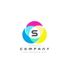 s colorful circular letter design with rainbow vector image