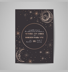 save date luxury card wedding celestial vector image