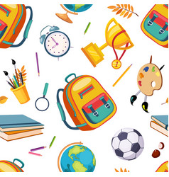 school supplies seamless pattern stationery vector image