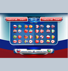 Scoreboard broadcast and national flag vector