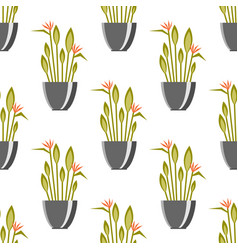 seamless pattern with antique vases green plants vector image