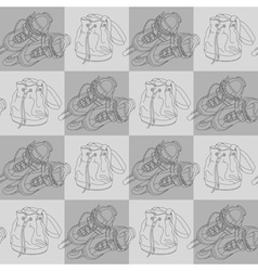 seamless pattern with roller skates and bags vector image
