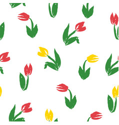 seamless pattern with yellow and pink tulips vector image
